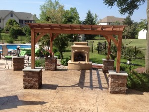 outdoor fireplace, pool deck