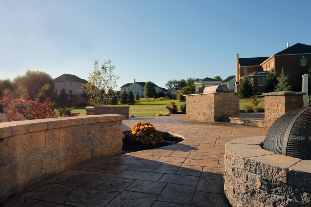 Seating wall, Outdoor Kitchen, Pillars, and Fire Pit