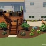 A 3d Landscape design of a deck and patio