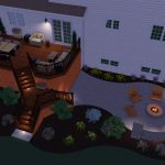 A backyard design of a deck and patio with landscape lights