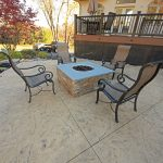 Fire pit on stamped concrete patio